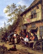 Ostade, Adriaen van Merrymaking Outside an Inn oil painting