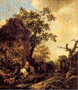 Ostade, Isaack Jansz. van The Outskirts of a Village with a Horseman oil painting