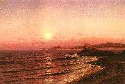 Raymond D Yelland Moonrise over Seacost at Pacific Grove oil painting