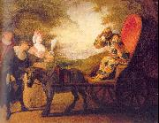 WATTEAU, Antoine Harlequin, Emperor on the Moon oil painting