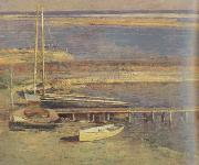 Theodore Robinson Boats at a Landing (nn02) oil painting