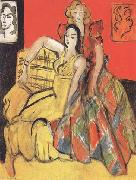 Henri Matisse Two Young Girls the Yellow Dress and the Tartan Dress (mk35) oil painting reproduction