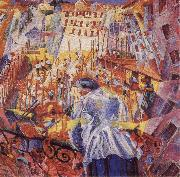 Umberto Boccioni The Noise of the Street Enters the House oil painting