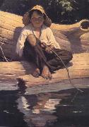 Worth Brehm Forntispiece illustration for The Adventures of Huckleberry Finn by mark Twain oil painting